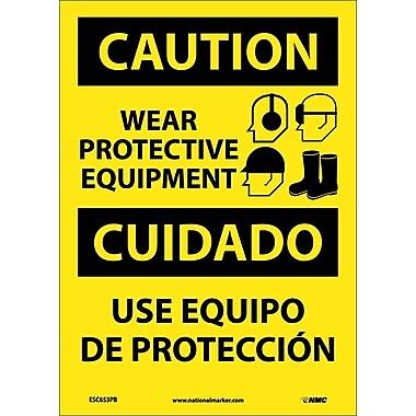 Caution, Wear Protective Equipment Bilingual, Graphic, 14X10, Adhesive Vinyl