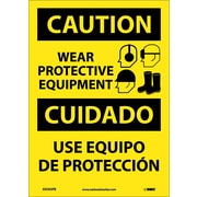 Caution, Wear Protective Equipment Bilingual, Graphic, 14X10, Adhesive Vinyl