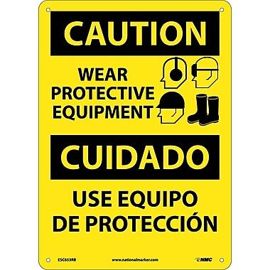 Caution, Wear Protective Equipment Bilingual, Graphic, 14X10, Rigid Plastic
