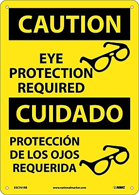 Caution, Eye Protection Required, (Graphic), Bilingual, 14X10, Rigid Plastic