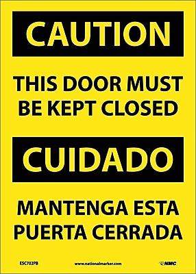 Caution, This Door Must Be Kept Closed, Bilingual, 14X10, Adhesive Vinyl