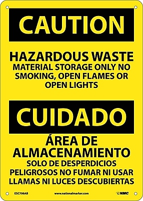 Caution, Hazardous Waste Material Storage Only No Smoking, Open Flames Or Open Lights, Bilingual, 14X10, .040 Aluminum