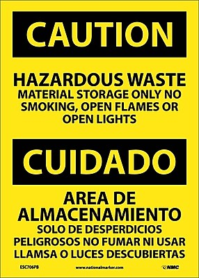 Caution, Hazardous Waste Material Storage Only No Smoking, Open Flames Or Open Lights