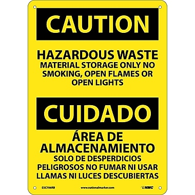 Caution, Hazardous Waste Material Storage Only No Smoking, Open Flames Or Open Lights, Bilingual, 14X10, Rigid Plastic