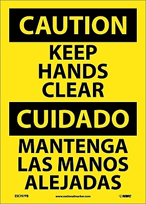 Caution, Keep Hands Clear, Bilingual, 14X10, Adhesive Vinyl