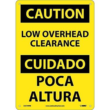 Caution, Low Overhead Clearance, Bilingual, 14X10, Rigid Plastic
