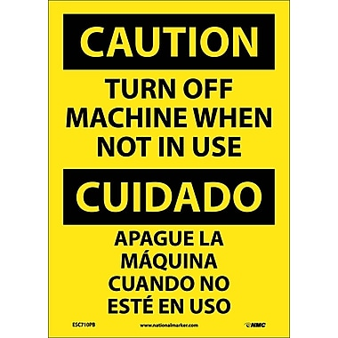 Caution, Turn Machine Off When Not In Use, Bilingual, 14X10, Adhesive Vinyl