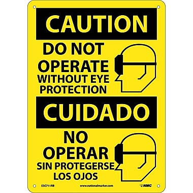 Caution, Do Not Operate Without Eye Protection (Graphic), Bilingual, 14X10, Rigid Plastic