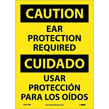 Caution, Ear Protection Required, Bilingual, 14X10, Adhesive Vinyl