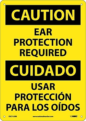 Caution, Ear Protection Required, Bilingual, 14X10, Rigid Plastic