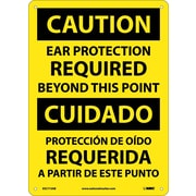 Caution, Ear Protection Required Beyond This Point, Bilingual, 14X10, .040 Aluminum