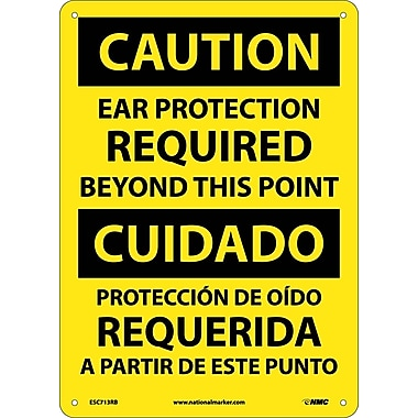 Caution, Ear Protection Required Beyond This Point, Bilingual, 14X10, Rigid Plastic