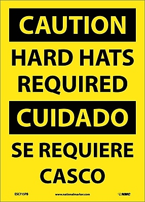 Caution, Hard Hats Required, Bilingual, 14X10, Adhesive Vinyl
