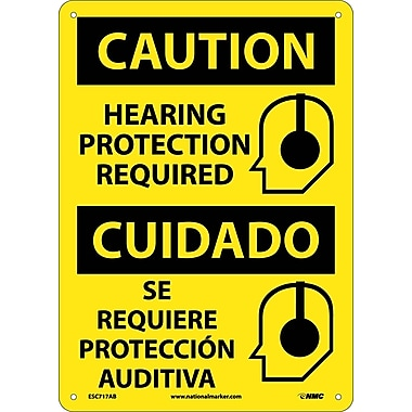 Caution, Hearing Protection Required (Graphic), Bilingual, 14X10, .040 Aluminum