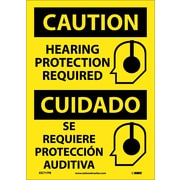 Caution, Hearing Protection Required (Graphic), Bilingual, 14X10, Adhesive Vinyl