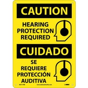 Caution, Hearing Protection Required (Graphic), Bilingual, 14X10, Rigid Plastic