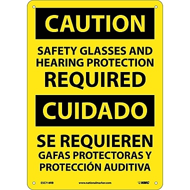 Caution, Safety Glasses And Hearing Protection Required, Bilingual, 14X10, Rigid Plastic