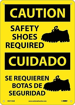 Caution, Safety Shoes Required (Graphic), Bilingual, 14X10, .040 Aluminum