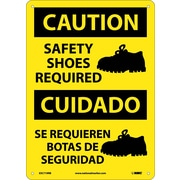 Caution, Safety Shoes Required (Graphic), Bilingual, 14X10, Rigid Plastic