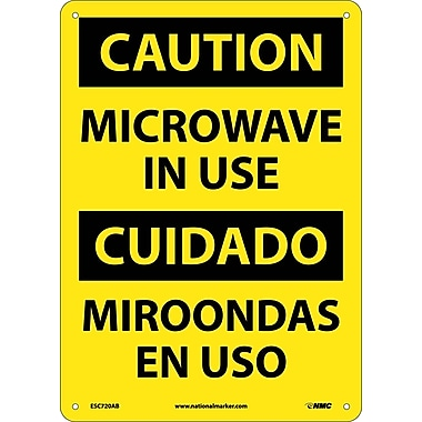 Caution, Microwave In Use, Bilingual, 14X10, .040 Aluminum