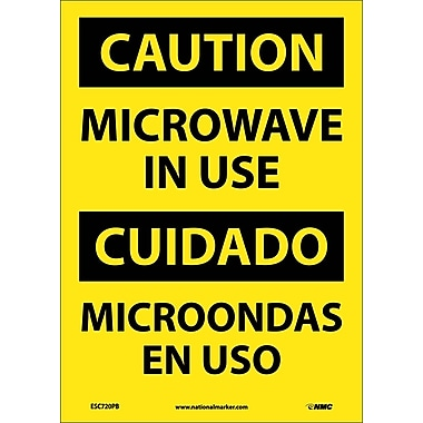 Caution, Microwave In Use, Bilingual, 14X10, Adhesive Vinyl