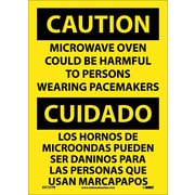 Caution, Microwave Oven Could Be Harmful To Persons Wearing Pacemarkers, Bilingual, 14X10
