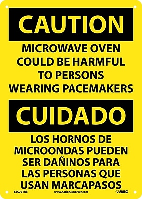 Caution, Microwave Oven Could Be Harmful To Persons Wearing Pacemakers, Bilingual, 14X10, Rigid Plastic