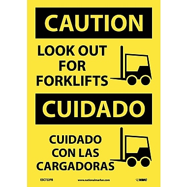 Caution, Look Out For Forklifts, Graphic, Bilingual, 14X10, Adhesive Vinyl