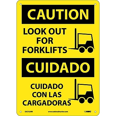 Caution, Look Out For Forklifts, Graphic, Bilingual, 14X10, Rigid Plastic