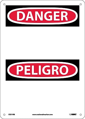 Danger, Peligro (Header Only) (Bilingual), 14X10, Rigid Plastic