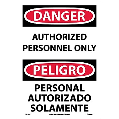 Danger, Authorized Personnel Only Bilingual, 14X10, Adhesive Vinyl