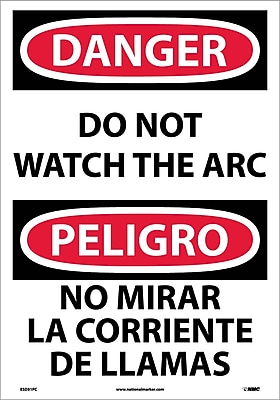 Danger, Do Not Watch The Arc (Bilingual), 20X14, Adhesive Vinyl