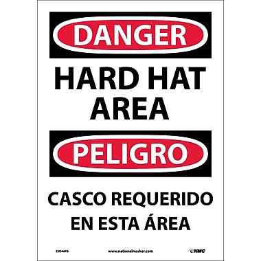 Danger, Hard Hat Area (Bilingual), 14X10, Adhesive Vinyl