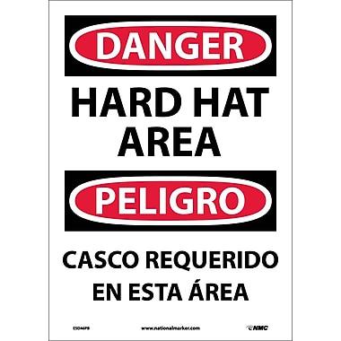 Danger, Hard Hat Area (Bilingual), 14X10, Adhesive Vinyl