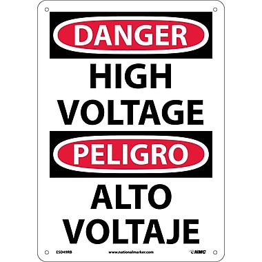 Danger, High Voltage (Bilingual), 14X10, Rigid Plastic