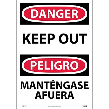 Danger, Keep Out (Bilingual), 20X14, Adhesive Vinyl