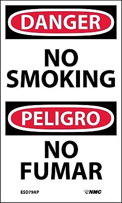 Labels - Danger, No Smoking, Bilingual, 5X3, Adhesive Vinyl, 5/Pk
