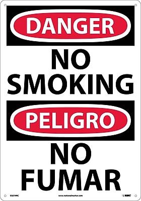 Danger, No Smoking (Bilingual), 20X14, Rigid Plastic