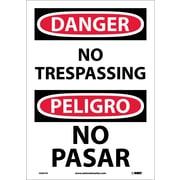 Danger, No Trespassing (Bilingual), 14X10, Adhesive Vinyl
