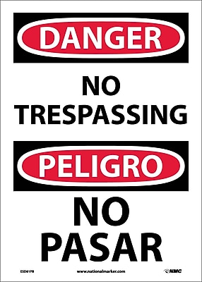 Danger, No Trespassing (Bilingual), 14X10, Adhesive Vinyl