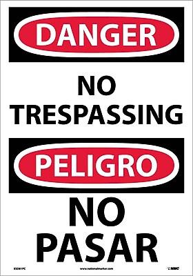 Danger, No Trespassing (Bilingual), 20X14, Adhesive Vinyl