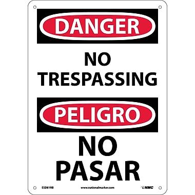 Danger, No Trespassing (Bilingual), 14X10, Rigid Plastic
