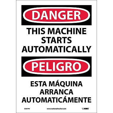 Danger, This Machine Starts Automatically (Bilingual), 14X10, Adhesive Vinyl