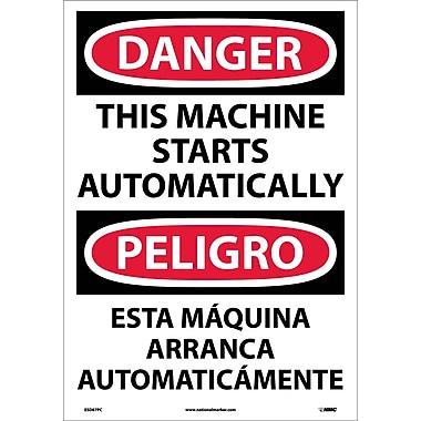 Danger, This Machine Starts Automatically (Bilingual), 20X14, Adhesive Vinyl