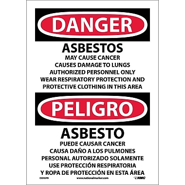 Danger, Asbestos Cancer And Lung Disease. . . (Bilingual), 14X10, Adhesive Vinyl