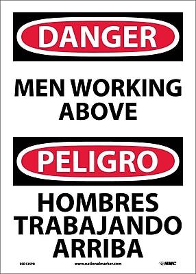Danger, Men Working Above Bilingual, 14X10, Adhesive Vinyl
