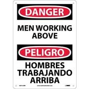 Danger, Men Working Above Bilingual, 14X10, Rigid Plastic