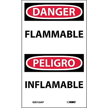 Labels - Danger, Flammable, Bilingual, 5X3, Adhesive Vinyl, 5/Pk