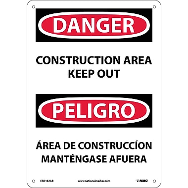 Danger, Construction Area Keep Out Bilingual, 14X10, .040 Aluminum