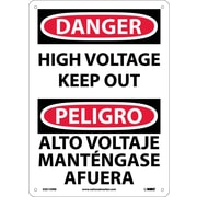 Danger, High Voltage Keep Out Bilingual, 14X10, Rigid Plastic